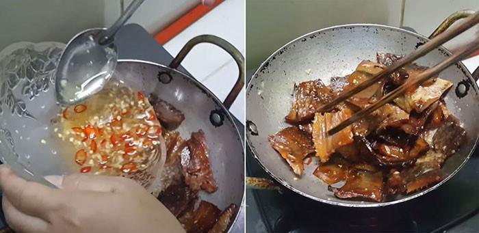 Món khô cá lóc chiên giấm đường