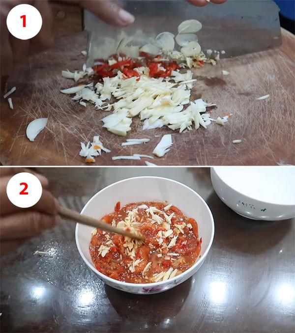 Làm mắm tôm chua đu đủ