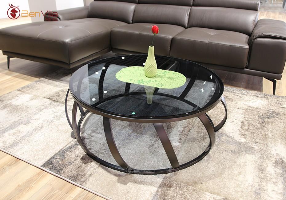 bàn trà tròn mặt kính