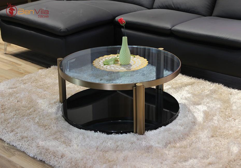 Bàn trà tròn mặt kính Temper, NK Úc