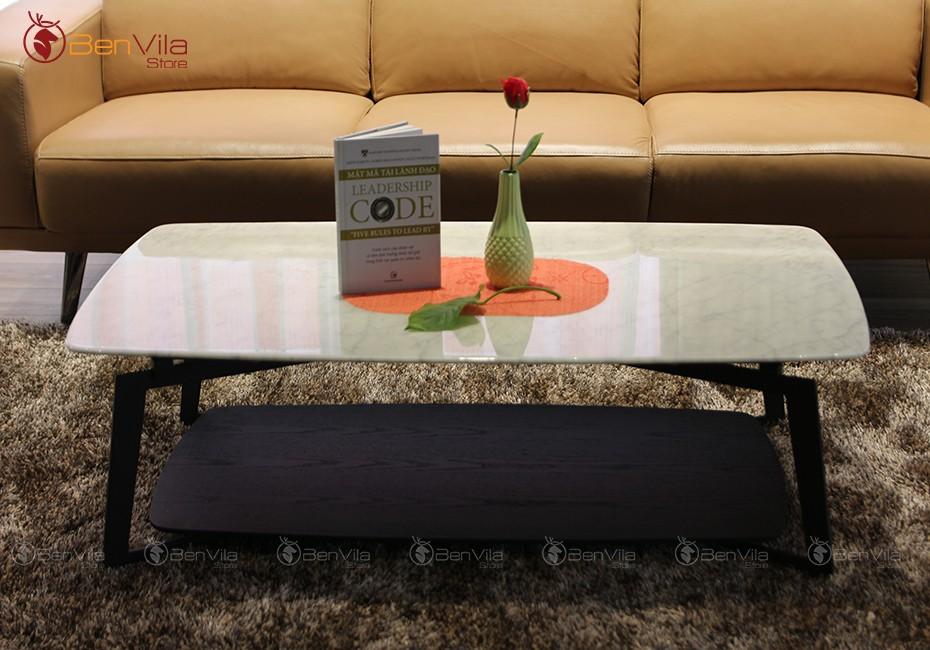 bàn trà chữ nhật mặt đá marble