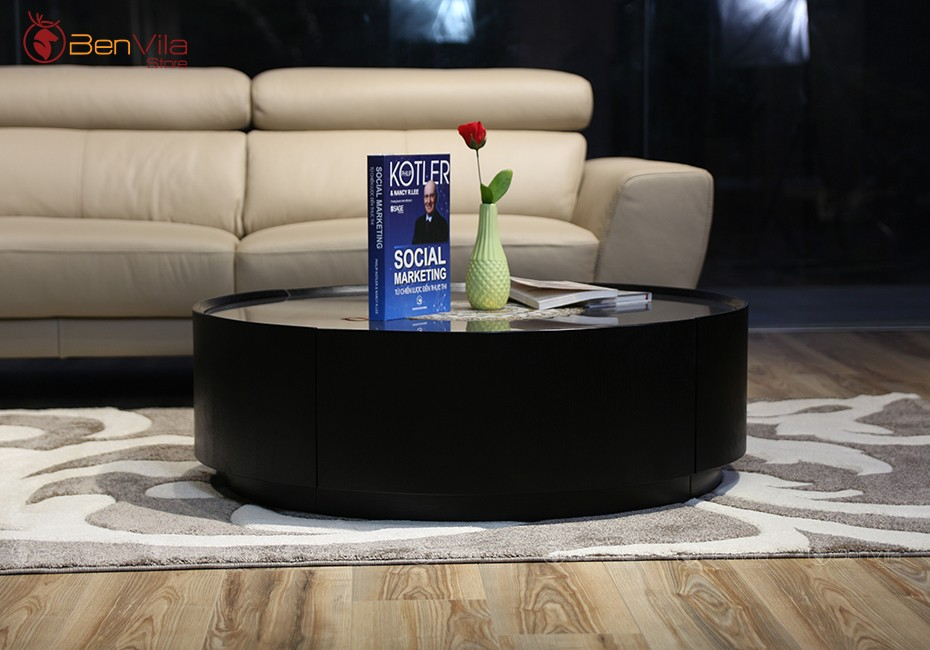 bàn trà tròn mặt kính NK Úc