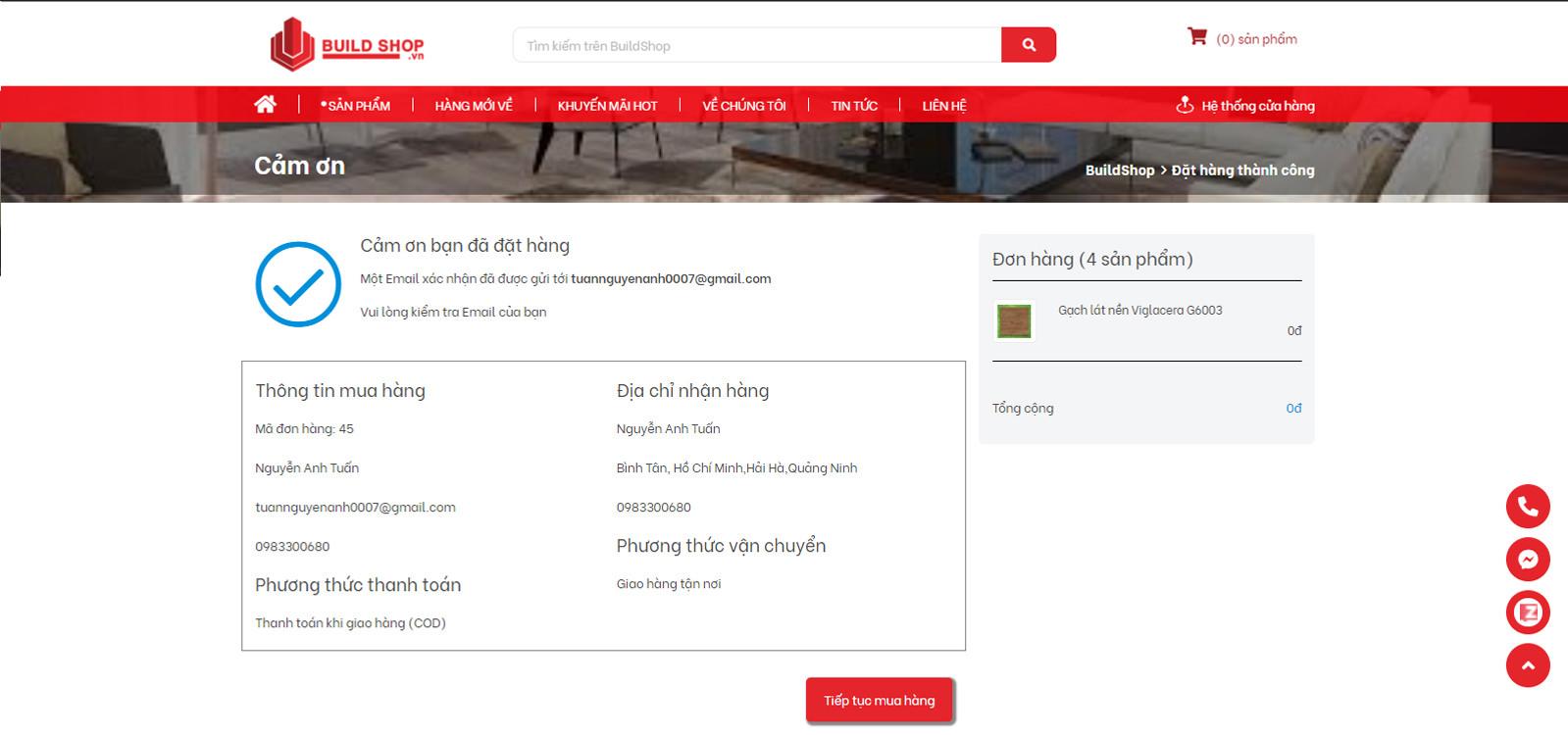 build shop | hoàn thành đặt hàng