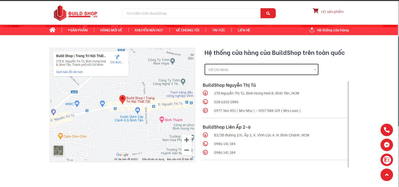 Hệ thống cửa hàng Build Shop