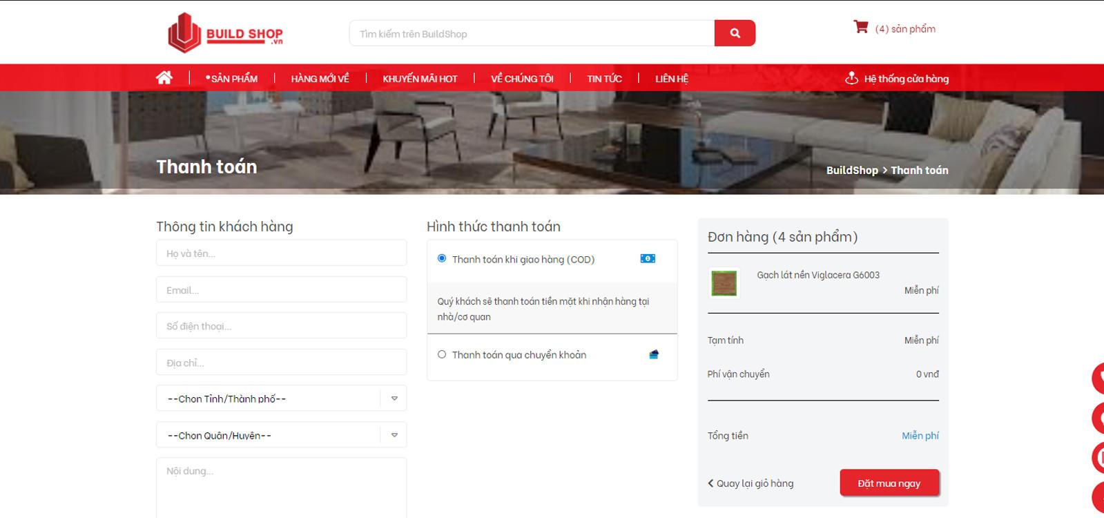 build shop | thông tin đặt hàng