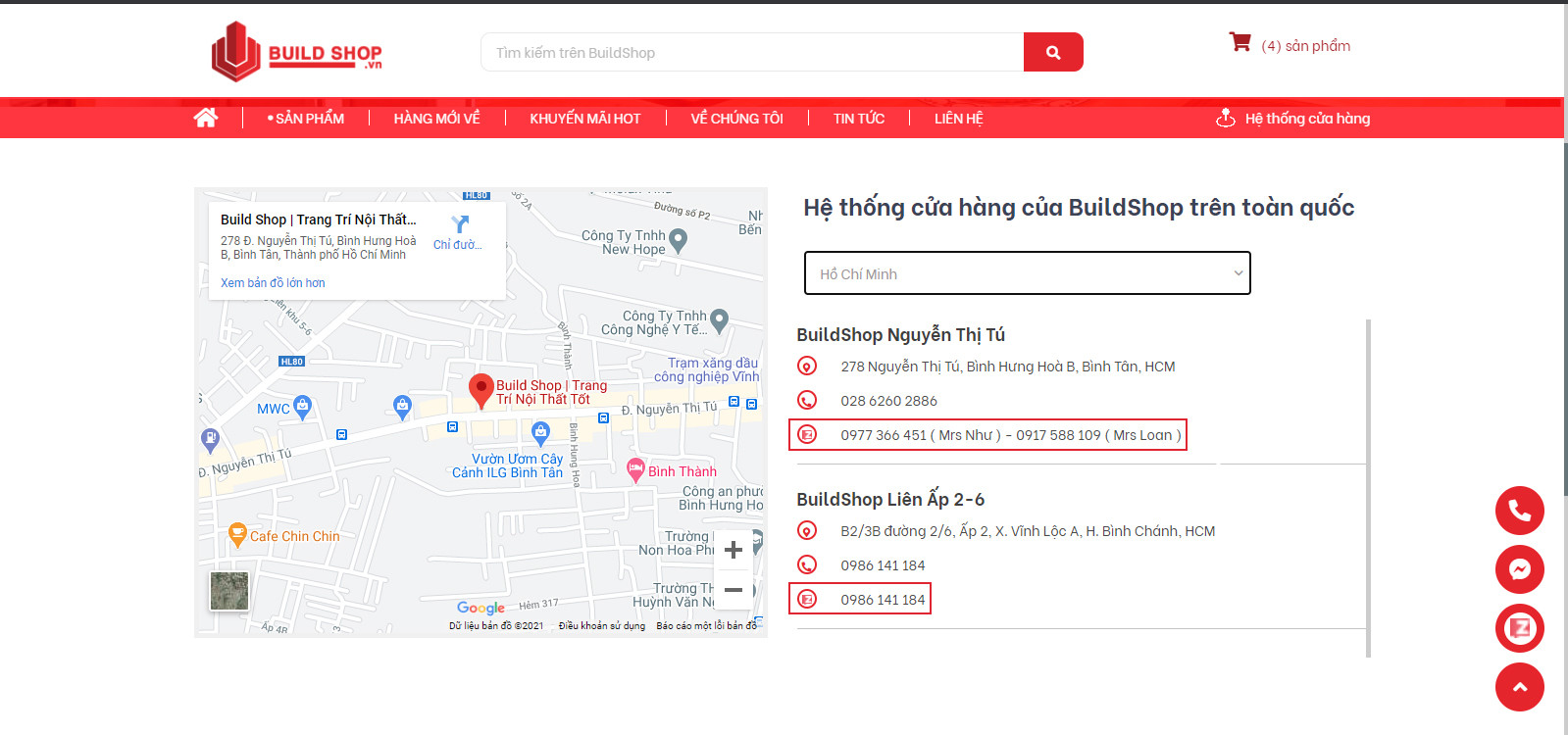 Zalo liên hệ build shop