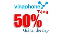 Vinaphone Khuyến Mại ngày vàng 07-07-2016: Tặng 50% giá trị thẻ nạp