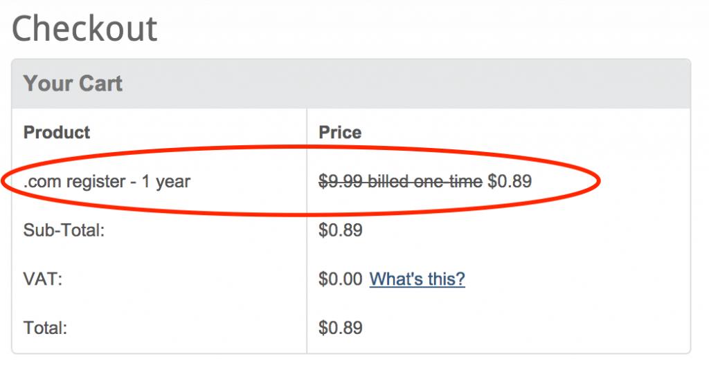 Tên miền .COM chỉ 0.89$ tại Domain.com