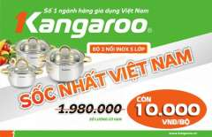 [Offline HC] Cực Hot: Bộ 3 Nồi Inox 5 Lớp Kangaroo Giá 10K Tại Siêu Thị Điện Máy HC Ngày 19.10.2014