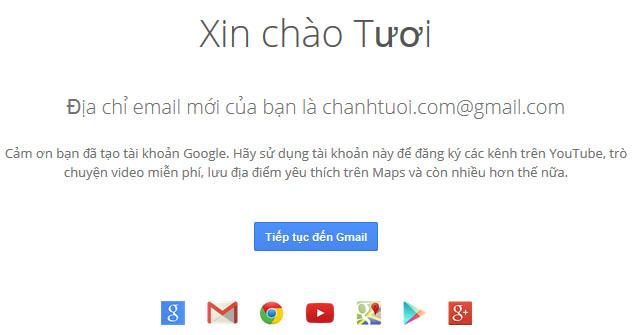 Thông báo kết quả tạo mới gmail thành công