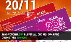 Voucher 20% Buffet lẩu tại Kendo Buffet hoặc Pikachu Buffet tại Hà Nội