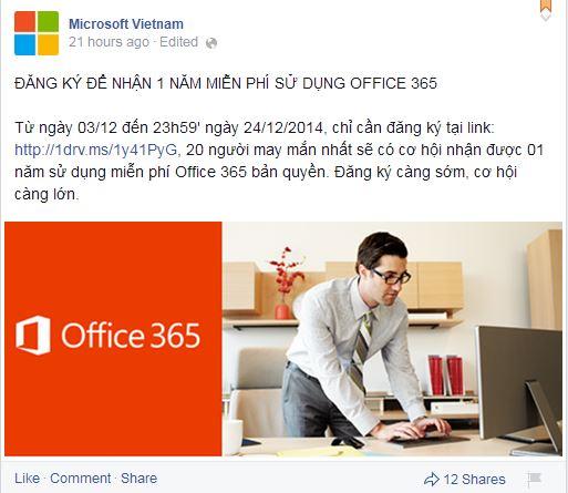 Đăng ký nhận tải office 365 bản quyền 1 năm