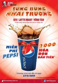 KFC Lottemart Vũng Tàu Miễn Phí Pepsi Cho Hóa Đơn Trên 25K