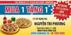 Domino's Pizza Mua 1 Tặng 1 Nhân Dịp Năm Mới 2015
