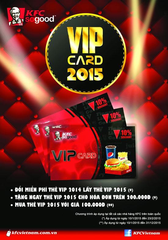 Khuyến mãi KFC giảm giá 10% dành cho thẻ VIP 2015