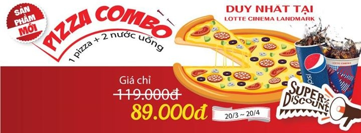 Lotte Cinema Landmark giàm giá Pizza Combo chỉ 89k