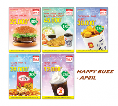 Lotteria Khuyến mãi happy buzz tháng 4