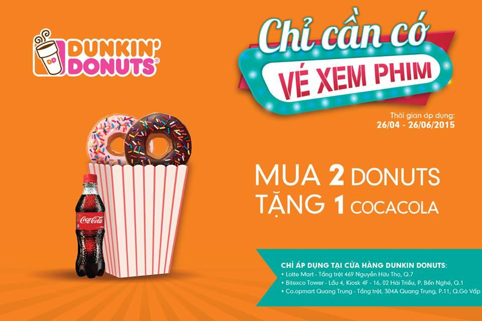 Mua 2 tặng 1 ưu đãi hấp dẫn từ Dunkin' Donuts