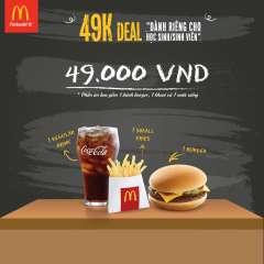 McDonald's giảm giá phần ăn sinh viên chỉ với 49k