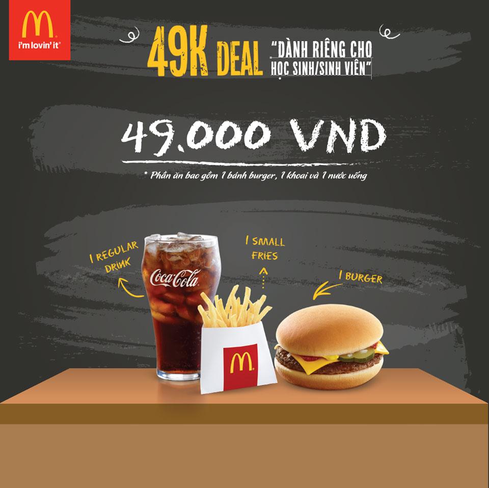 McDonald's ưu đãi hấp dẫn cho các bạn học sinh, sinh viên