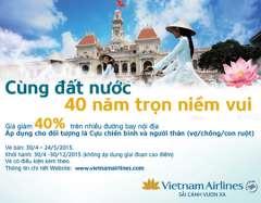 Vietnam Airlines giảm 40% giá vé  cho khách hàng là Cựu chiến binh