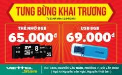 ViettelStore khai trương tưng bừng giảm giá thẻ nhớ, laptop, điện thoại