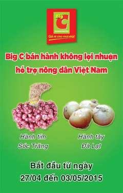 Big c bán 20 tấn hành tím Sóc Trăng, 100 tấn hành tây Đà Lạt  giúp nông dân