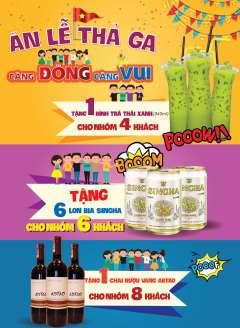 Coca Suki khuyến mại ăn lễ thả ga tặng miễn phí đồ uống.