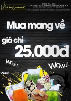 Cafe Au Bon Moment khuyến mại mua mang về đồng giá 25k