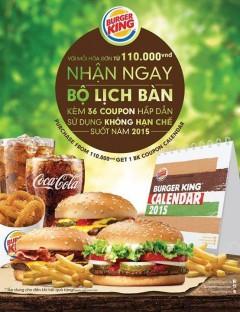 Burger King tặng bộ lịch 36 coupon cho hóa đơn 110k