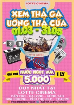 Khuyến mãi 'sốc tới nóc' tại Lotte Cinema giá bán nước ngọt chỉ còn 5.000 đồng/ly.