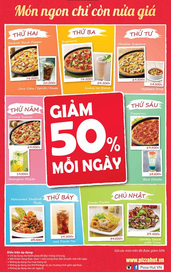 Hot deal giảm giá 50%  Pizza Hut mỗi ngày