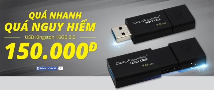 USB Kingston 16GB Giá 150k (Giá đã giảm 53%)