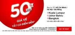 AIRASIA siêu khuyến mại giảm giá vé 50%
