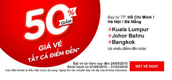 AIRASIA siêu khuyến mại giảm giá vé 50