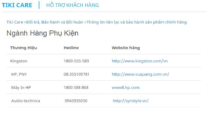 Thông tin liên lạc và bảo hành sản phẩm chính hãng mua trên Tiki