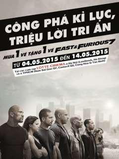 """Siêu khuyến mại tại Lotte Cinema """"mua 1 tặng 1"""" vé Fast and Furius 7"""