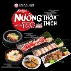 Tasaki BBQ khuyến mãi buffet nướng lẩu chỉ từ 189k (giá gốc 229k)