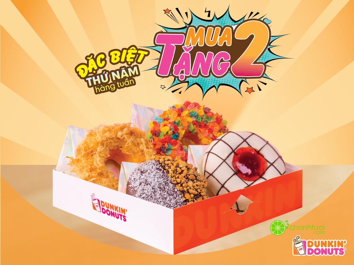 dunkin-donuts-khuyen-mai-thu-5-hang-tuan-tu-10-1-2016-mua-2-tang-2