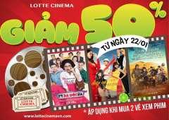 Giảm 50% cả 2 vé khi mua 2 vé xem phim tại Lotte Cantavil