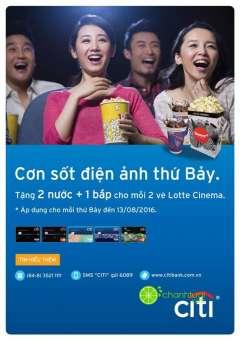 Lotte Cinema- ưu đãi nước+ bắp khi mua vé vào thứ 7