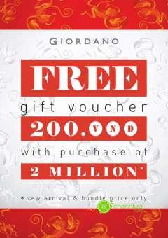 Tặng voucher 200k với hóa đơn từ 2 triệu đồng tại Giordano