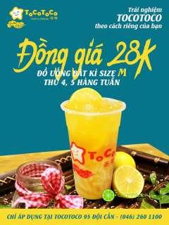 [HÀ NỘI] TocoToco Bubble Tea 95 Đội Cấn khuyến mãi đồng giá 28k thứ 4, thứ 5