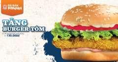 Popeyes Hà Nội khuyến mãi tặng Burger Tôm cho hóa đơn 120k