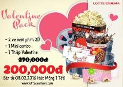 Lotte Cinema khuyến mãi Valentine pack- Quà tặng cho lễ tình nhân