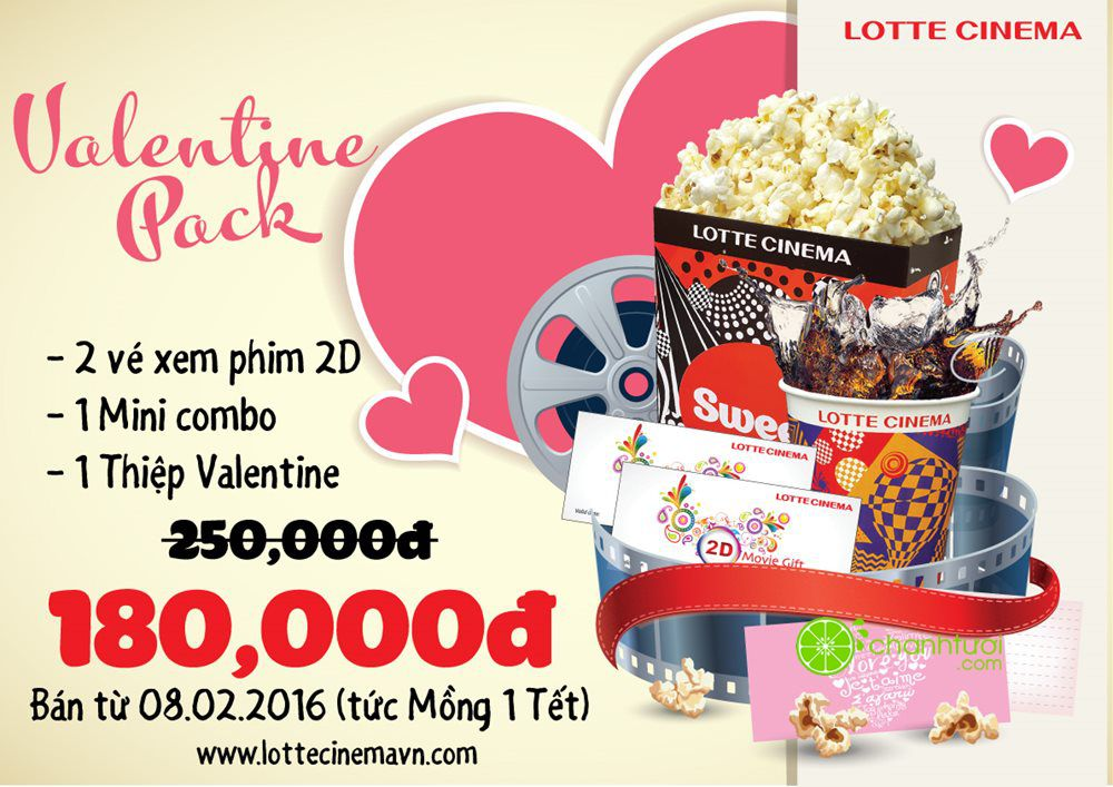 Lotte Cinema khuyến mãi Valentine pack- Quà tặng cho lễ tình nhân-hn