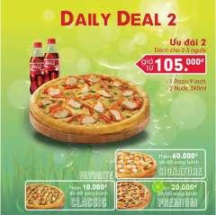 Tận hưởng Daily Deal 2 từ Domino's- Combo Pizza chỉ từ 105k