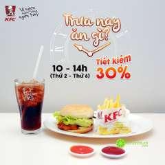 KFC khuyến mãi giảm giá 30% combo Burger+ Pepsi vào buổi trưa