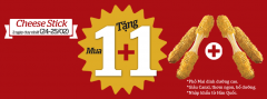 Khuyến mãi cực hấp dẫn Mua 1 tặng 1 món Cheese Stick tại Lotteria