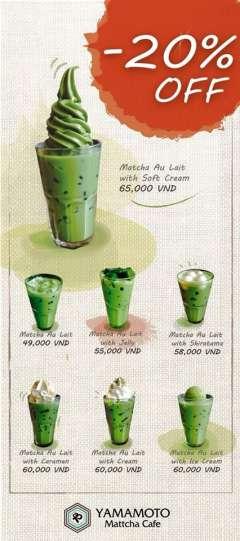 Yamamoto Mattcha Cafe off 20% món nước Best Seller - Matcha Au Lait